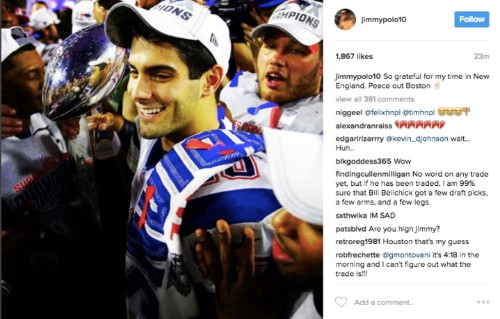 Jimmy Garoppolo's cryptic goodbye post to New England was a hack