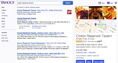 Yahoo's search results now include local business data from Yelp