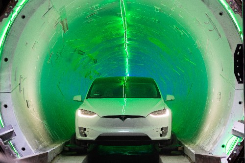 Elon Musk's Boring Company staged a race between a Tesla in a tunnel and one on the road