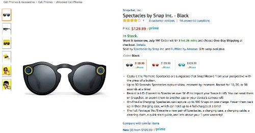 Snap's Spectacles are now available directly from Amazon