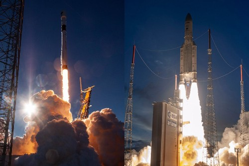 SpaceX and Arianespace launched rockets from North and South America within hours of each other