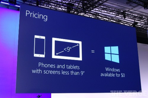 Microsoft making Windows free on devices with screens under 9 inches