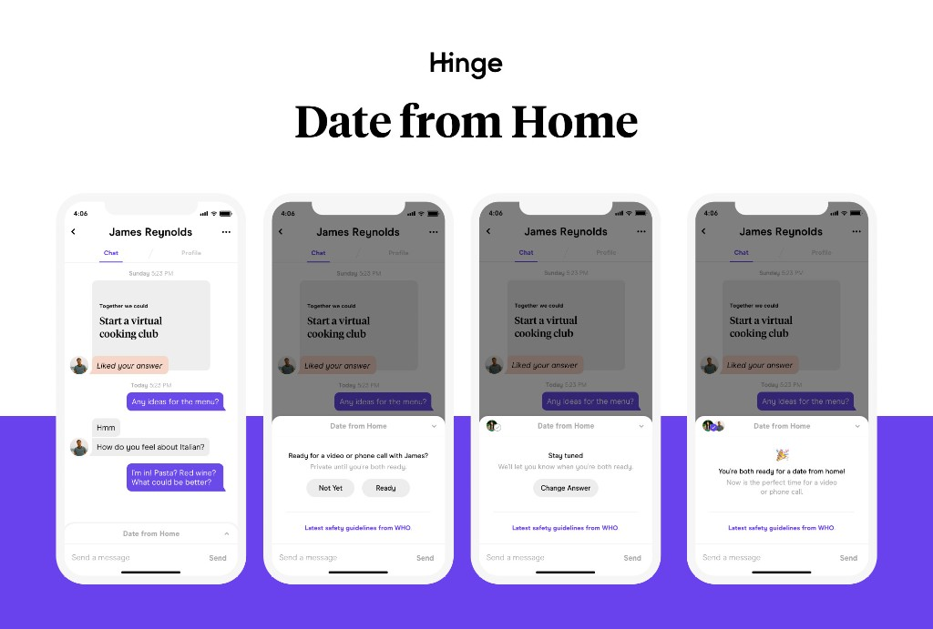Hinge will let people tap a button to say they're ready for a video call date