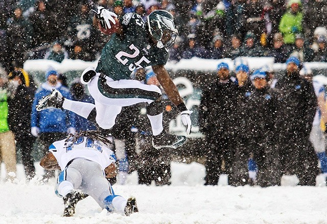 How do you photograph an NFL game during a blizzard?