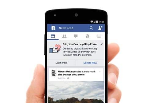 Facebook joins the fight against Ebola with News Feed donation drive
