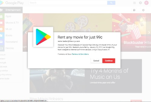 Rent any movie from Google or Amazon this Christmas for just $0.99