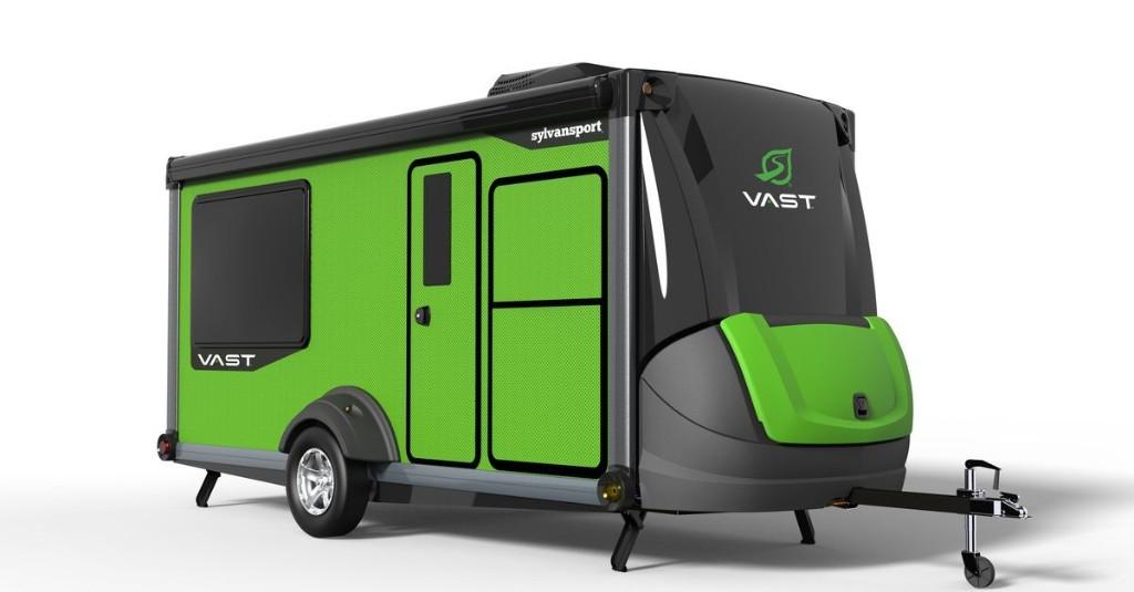 Transforming travel trailer features indoor-outdoor kitchen