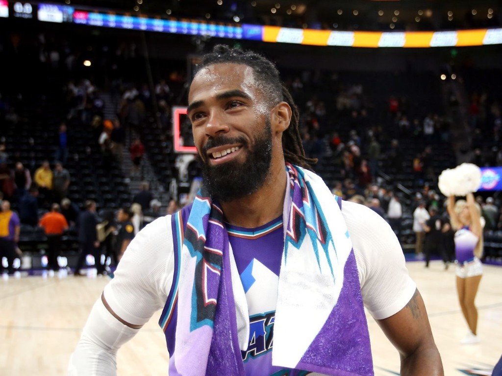 Watch Utah Jazz guard Mike Conley flash a smile and some fancy moves at NBA restart practice