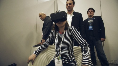 Plugging into Crystal Cove, the new high-resolution, position-tracking Oculus Rift