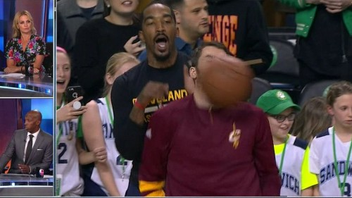 Kevin Love gets ready for the Celtics by taking a basketball to the face