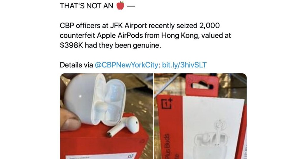 """Feds proudly announce seizure of """"counterfeit Apple AirPods"""" that are actually OnePlus Buds"""