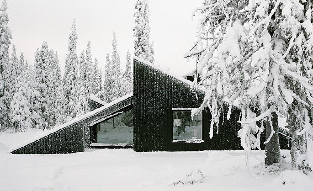 Hidden treasure: a Norwegian cabin is designed to peek out from the snow