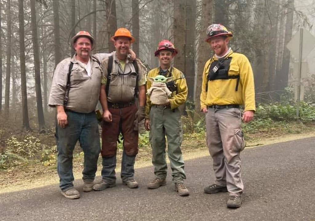 A boy gave a Baby Yoda to crews battling Oregon wildfires. They lovingly passed it among firefighters, across state lines.