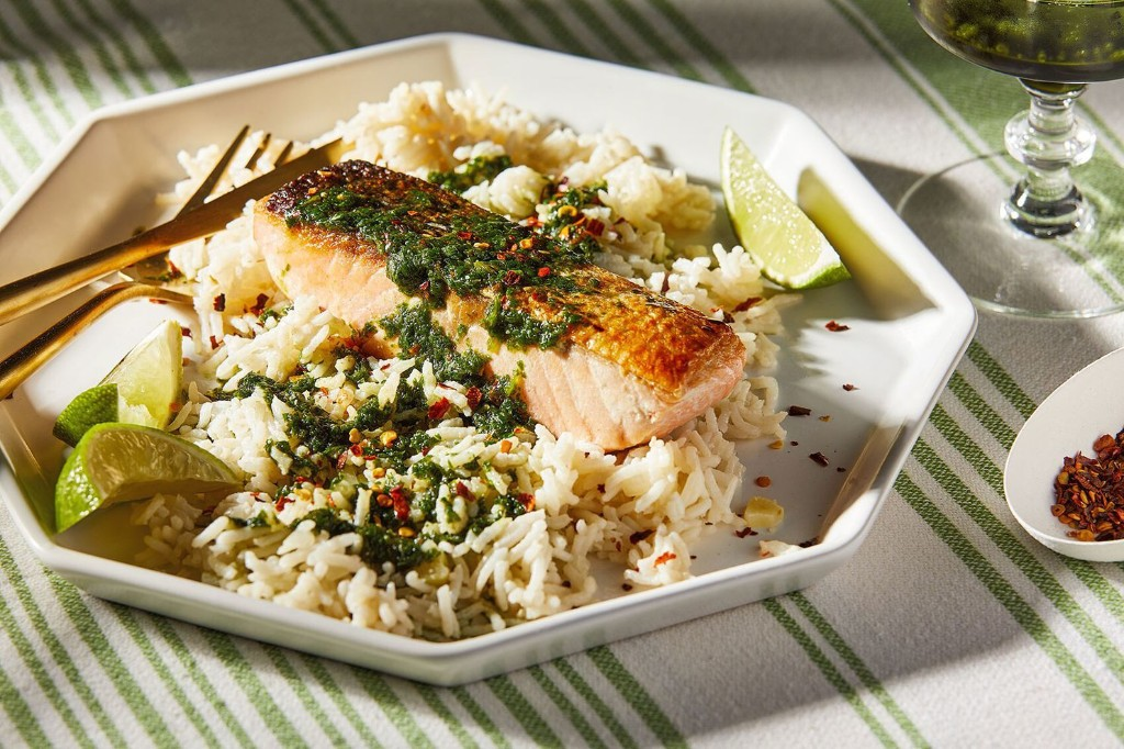 This coconut rice with salmon and cilantro sauce deserves a spot in your regular recipe rotation