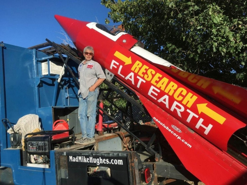 This man is about to launch himself in his homemade rocket to prove the Earth is flat