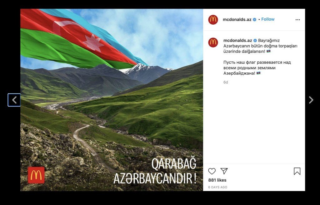 In the fight between Armenia and Azerbaijan, even a McDonald's is taking sides