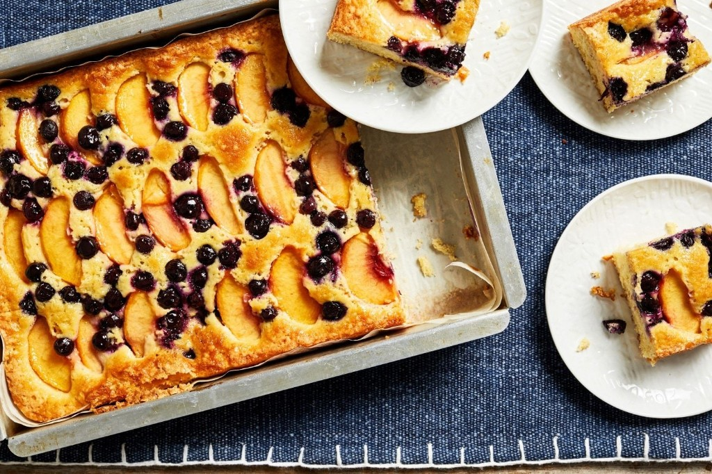 Buttermilk Sheet Cake With Peaches and Blueberries - The Washington Post