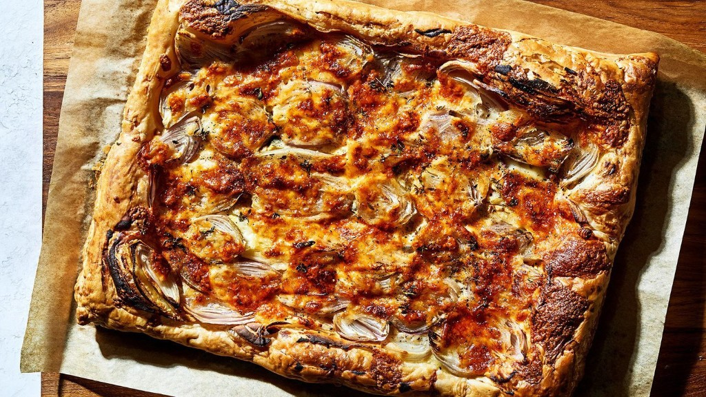 Frozen puff pastry is the key to the quick cheese and onion tart of your dreams