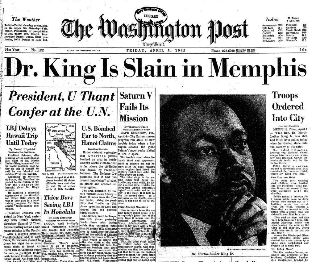 From the archive: Dr. King Is Slain in Memphis; Troops Ordered Into City