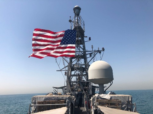 Aboard a U.S. patrol ship in the Persian Gulf, where tensions are spiking