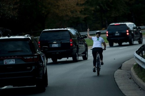 A cyclist flipped off Trump's motorcade and entered the annals of presidential protests