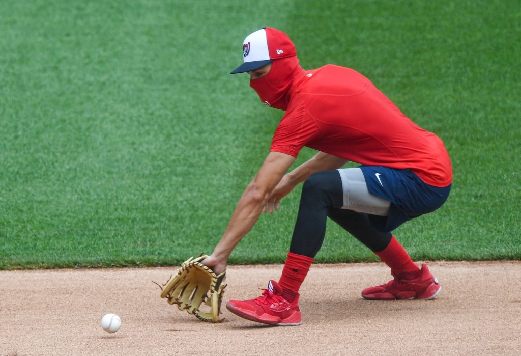 The Nationals, used to spitting and sunflower seeds, have a new way to kick their habits: Masks