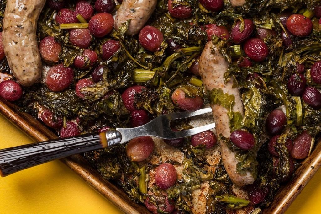 Sheet Pan Sausage Dinner With Roasted Grapes + Broccoli Rabe - The Washington Post