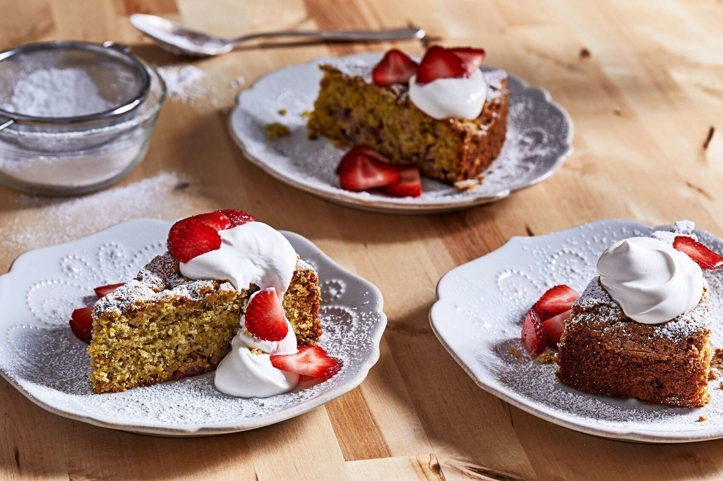 With their powers combined, strawberries, pistachios and olive oil make for one splendid cake