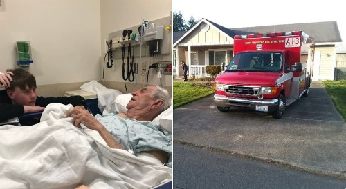 This man broke a hip while mowing his lawn. The EMTs who responded finished his yardwork.