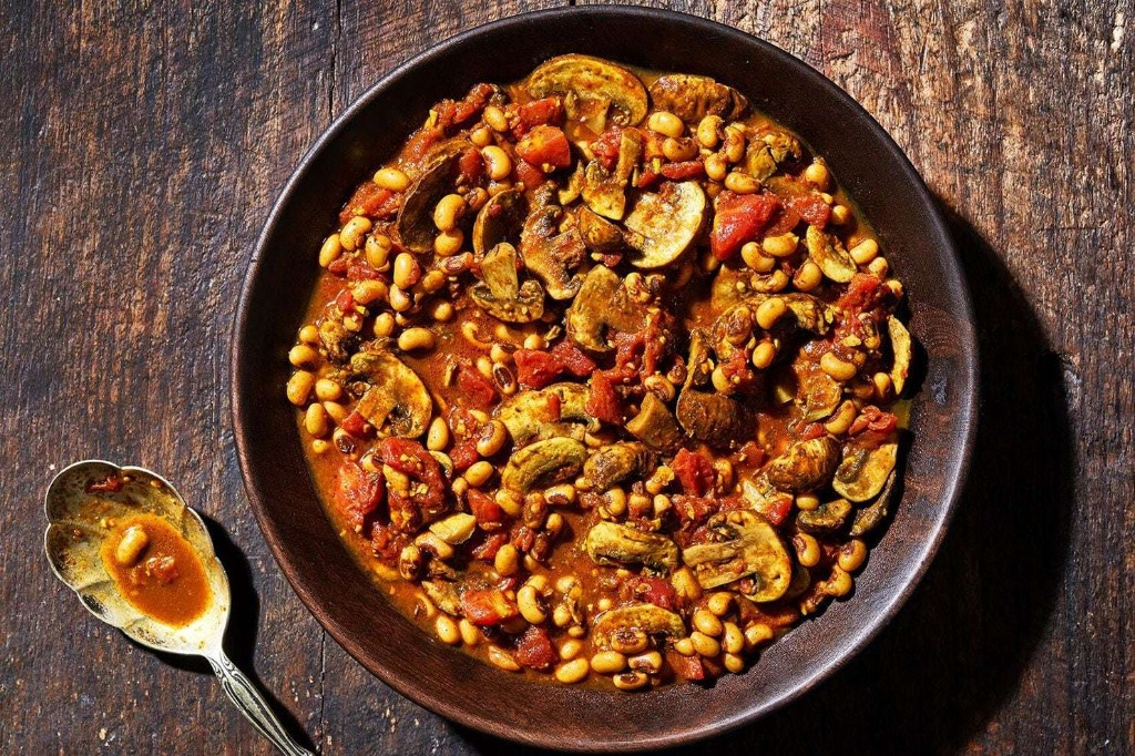 Indian spices make these black-eyed peas and mushrooms taste as if they took hours, not minutes