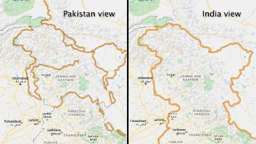 Google redraws the borders on maps depending on who's looking