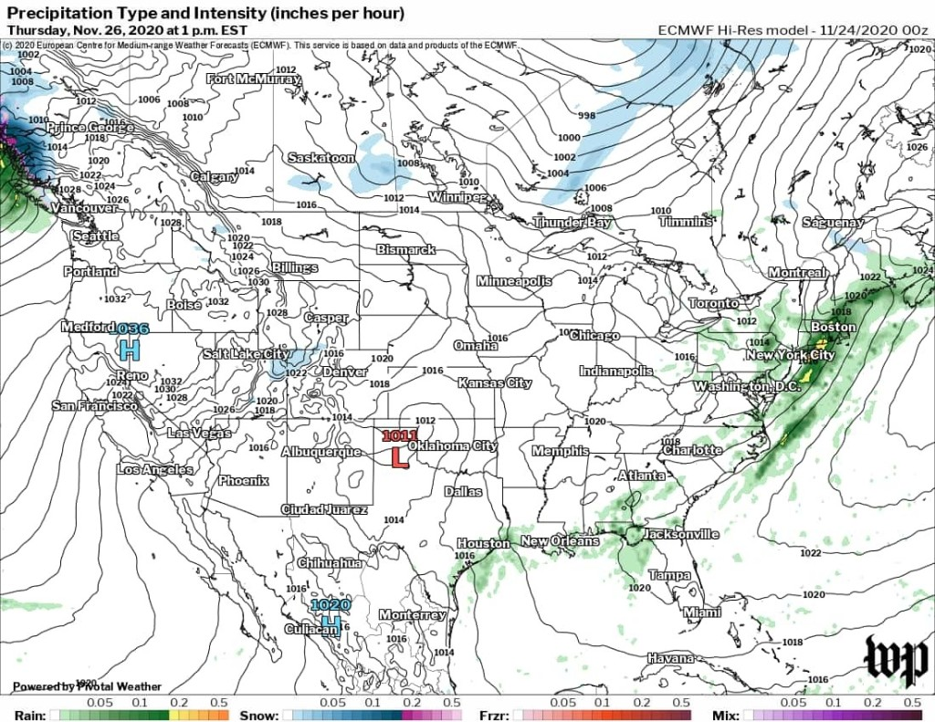 Stormy weather leads up to Thanksgiving but it should turn tranquil on Turkey Day itself