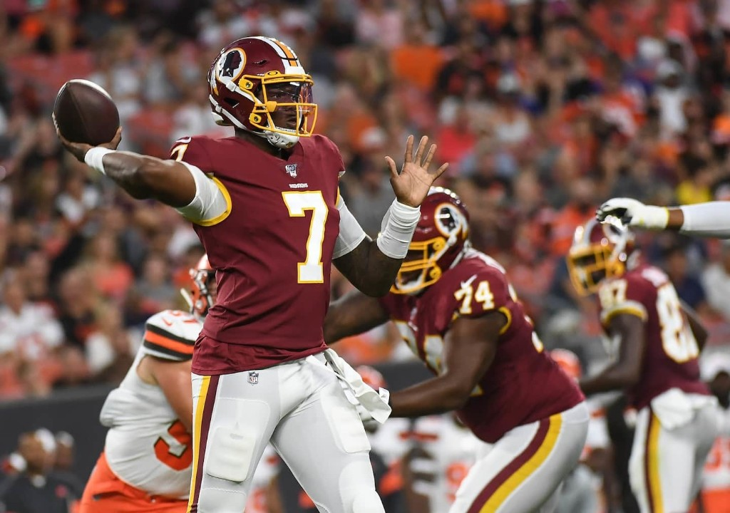 Dwayne Haskins throws two interceptions in Redskins debut but mixes in some impressive play