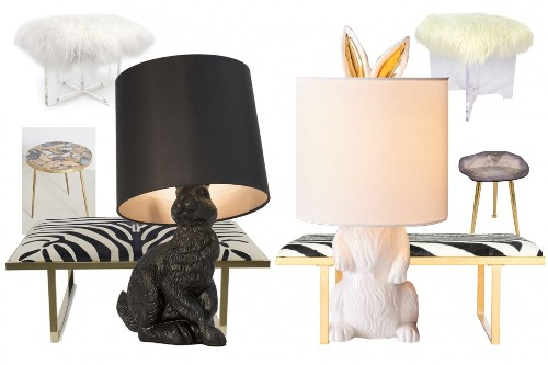 Rabbit lamps, agate tables and other conversation-starting items to stir up your decor