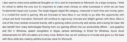 Microsoft Still Not Selling Its Xbox Business