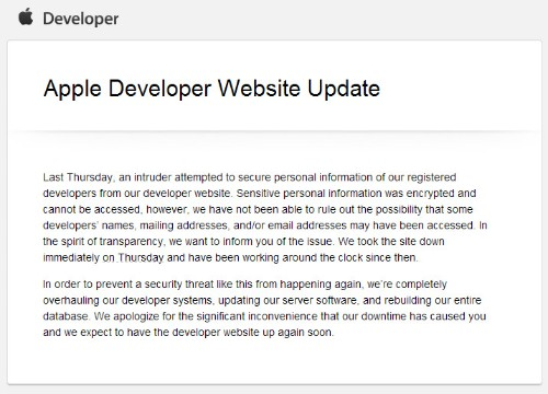 Apple Confirms That Its Dev Center Has Been Breached By Hackers