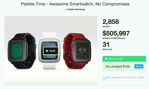 Pebble Hits Its $500K Kickstarter Target For Pebble Time In Just 17 Minutes