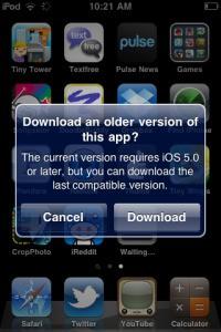 iOS 7の一般公開を控えて、旧バージョンiOSデバイスに旧バージョン向けアプリのインストールが可能になっている