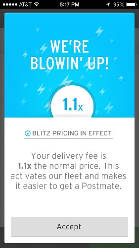 Local Delivery Startup Postmates Introduces Uber-Like Blitz Pricing During High Demand