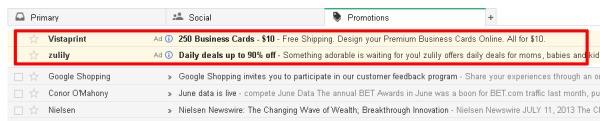 Gmailに新タイプの広告―プロモーション・タブに表示されるがスパムメールではない
