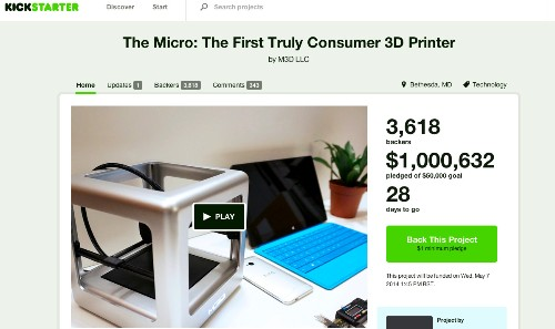 Updated: Micro $299 3D Printer Passes $2M On Kickstarter In 3 Days