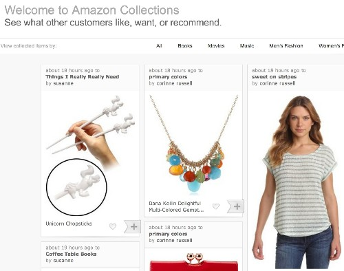 "Amazon Experiments With Its Own Take On Pinterest Called ""Amazon Collections"""