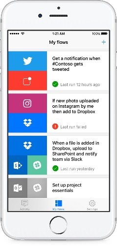 Microsoft Flow, a tool for managing workflows, launches on iOS