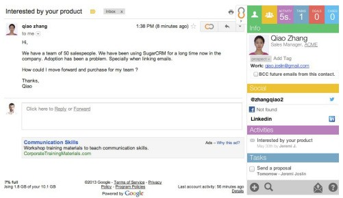 Collabspot Integrates Gmail With Leading CRM Platforms