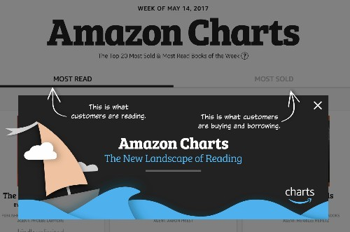 Amazon Charts, Amazon's new bestseller list, ranks titles by 'most read' and more