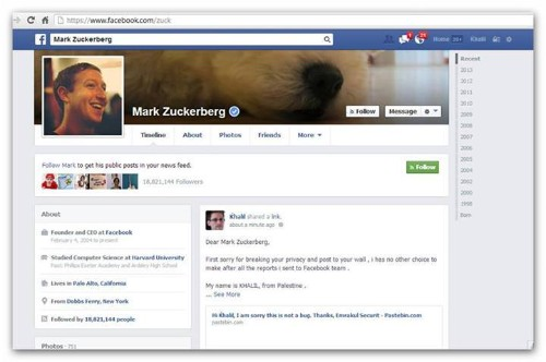 Security Researcher Hacks Mark Zuckerberg's Wall To Prove His Exploit Works