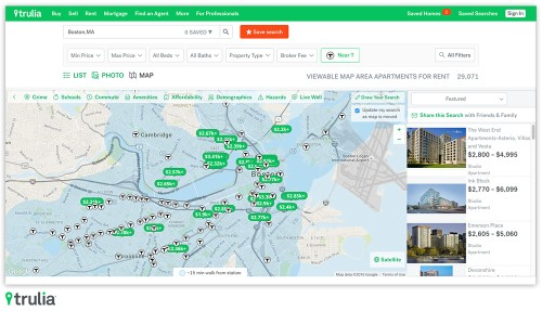 Trulia can now help you find a place to rent near public transport