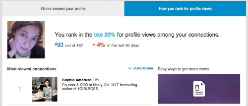 """LinkedIn Takes Another Page From Klout, Intros """"How You Rank"""" In Profile Views"""