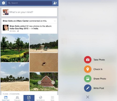 Facebook Tinkers With iPhone Design That Copies Path's Flyout Buttons