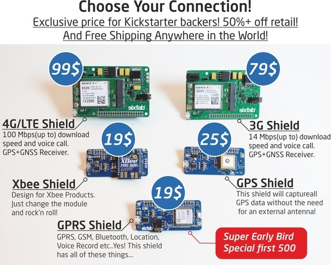 The R.Pi IoT Shield adds IoT connectivity to your DIY project